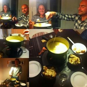 sunday fondue night with his friend